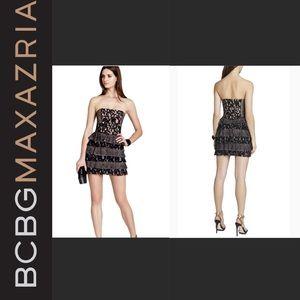 NWT BCBG black nude lace Ellie strap + dress